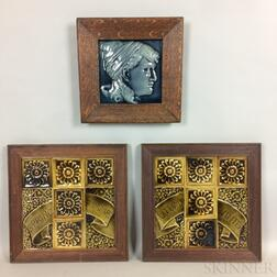 Three Framed Groups of J. & J.G. Low Glazed Ceramic Tiles