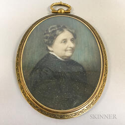 Framed Portrait Miniature of an Elderly Woman
