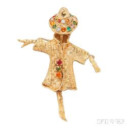 18kt Gold Gem-set Brooch