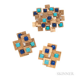 18kt Gold, Turquoise, Lapis, and Diamond Earclips and Brooch, Marianne Ostier