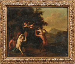 Martinus de la Court (Flemish, 1640-1710)      Wooded Landscape with Satyrs and a Nymph Dancing
