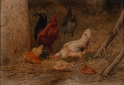 Philbert Leon Couturier (French, 1832-1901)      Chickens in a Barnyard