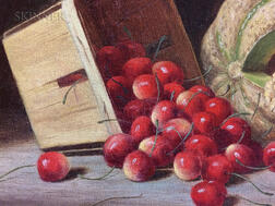 Albert Francis King (American, 1854-1945)      Still Life with Cherries and Melon