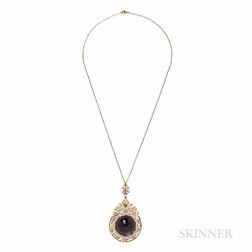 Antique Gold and Amethyst Pendant