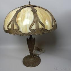 Miller Bronzed Metal and Carmel Overlay Slag Glass Table Lamp