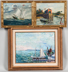 American School, 20th Century Three Framed Marine/Coastal Paintings: Frederick Julian Ilsley (1855-1933), Two Works, Harbor Grace and W