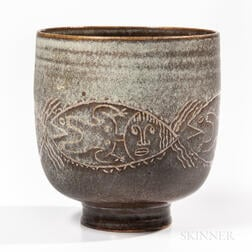 "Mary and Edwin Scheier ""Fish Man"" Studio Pottery Vase"