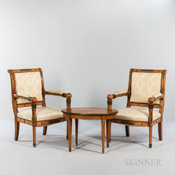 Pair of Empire-style Mahogany Ormolu-mounted Fauteuils and a Side Table