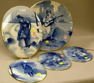 Four Doulton Burslem Oval Handpainted Blue and White Scenic Wall Plaques Depicting Children and a Royal Doulton Handpainted Blue and Wh