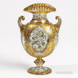 Enameled and Gilded Bohemian Glass Vase