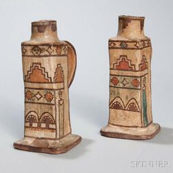 Zuni Polychrome Pottery Candle Holders
