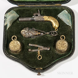 Miniature Percussion Pistol with Case and Accessories