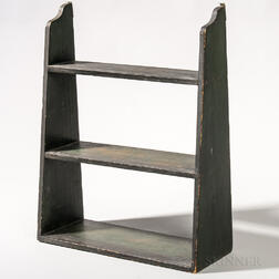 Dark Green/Black-painted Three-tier Wall Shelf