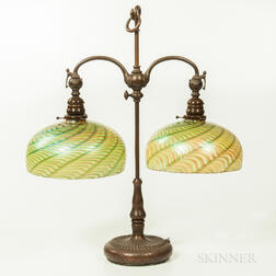 Tiffany Studios Bronze Double Student Lamp Base