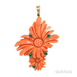 18kt Gold, Coral, and Emerald Flower Pendant, Henry Dunay