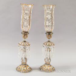 Pair of Enameled Colorless Glass Girandoles