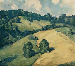 Justus Pfeiffen (American, 20th Century)      Summer Landscape with Hayfield and Rolling Hills