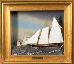 """Diorama:  """"There is No Second"""" Schooner Yacht America, Isle of Wight 1851."""