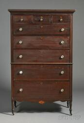 Federal Carved and Inlaid Cherry Chest-on-Chest