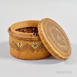 Northwest Quill-decorated Birch Bark Lidded Box