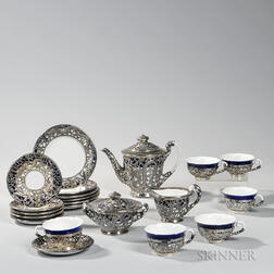 Blue and White Porcelain Tea Service with Sterling Silver Decoration