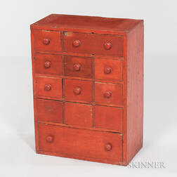 Small Red-painted Twelve-drawer Cabinet
