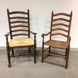 Two English Ladder-back Country Armchairs