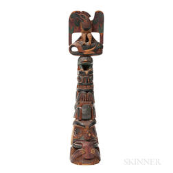 Northwest Coast Polychrome Wooden Model Totem Pole
