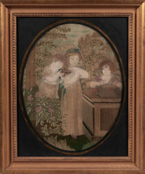 Silk Needlework and Watercolor Picture of Three Girls