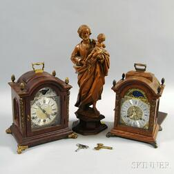 Two Clocks and a Wood Carving