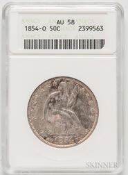 1854-O Seated Liberty Half Dollar, ANACS AU58.     Estimate $200-300