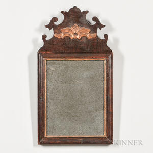 Walnut Veneer Parcel-gilt Mirror