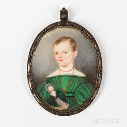American School, Mid-19th Century      Miniature Portrait of a Child in a Green Dress Holding a Doll