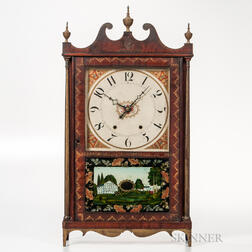 Paint-decorated and Stenciled Mark Leavenworth Pillar & Scroll Clock