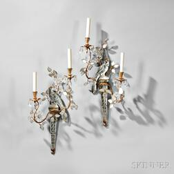 Pair of Two-light Crystal Parrot Wall Sconces