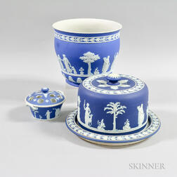 Three Wedgwood Dark Blue Jasper Ceramic Items