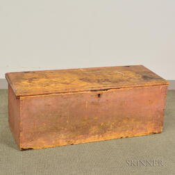 Salmon-painted Pine Six-board Chest