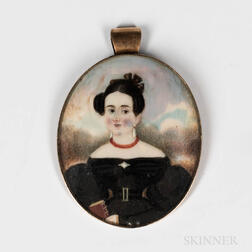 American School, Mid-19th Century      Miniature Portrait of a Young Woman in a Black Dress