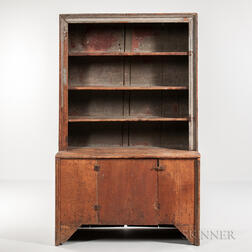 Early Blue Gray-painted Cupboard