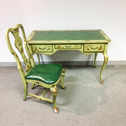 Rococo-style Green-painted Chinoiserie-decorated Desk and Side Chair