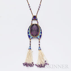 Egyptian Revival 14kt Gold, Amethyst Cameo Cuvee, and Enamel Pendant