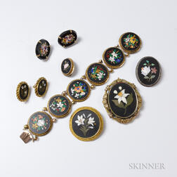 Group of Gold-filled Pietra Dura Jewelry