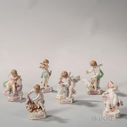 Six Meissen Porcelain Motto Figures