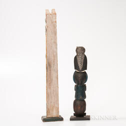 Two Northwest Coast Polychrome Wooden Model Totem Poles