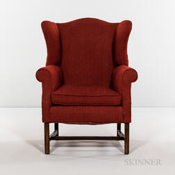 Miniature 18th Century-style Red Wool-upholstered Wing Chair