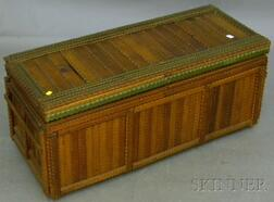 Tramp Art Painted Notch-carved Wood Lidded Blanket Box