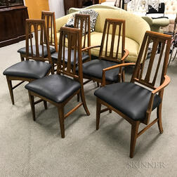 Set of Six Teak Mid-century Modern Dining Chairs