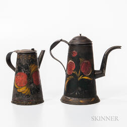 Two Painted Tin Coffeepots