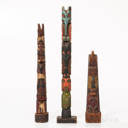 Three Northwest Coast Polychrome Wooden Model Totem Poles