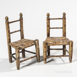 Pair of Miniature Painted Side Chairs